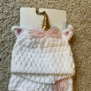 NWT Baby Girls Knit Unicorn Hat and Diaper Cover